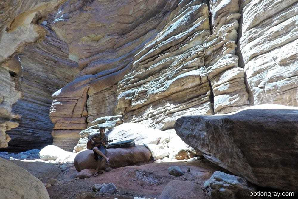 AzRA guide Trevor takes advantage of the special sound only Blacktail Canyon can offer.