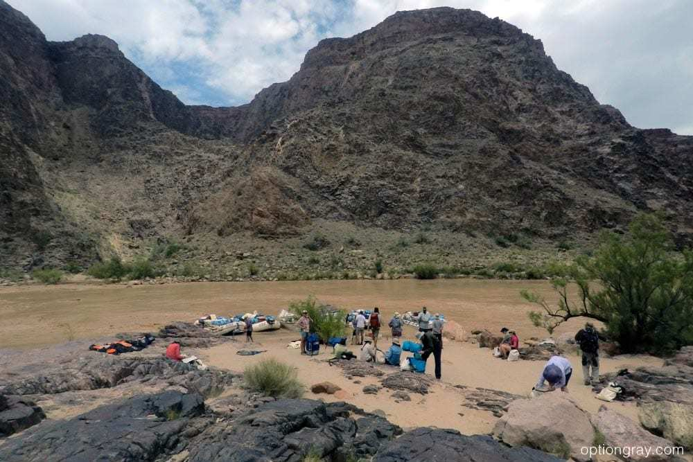 Loading gear into dry bags at Boat Beach, Colorado River, Grand Canyon National Park