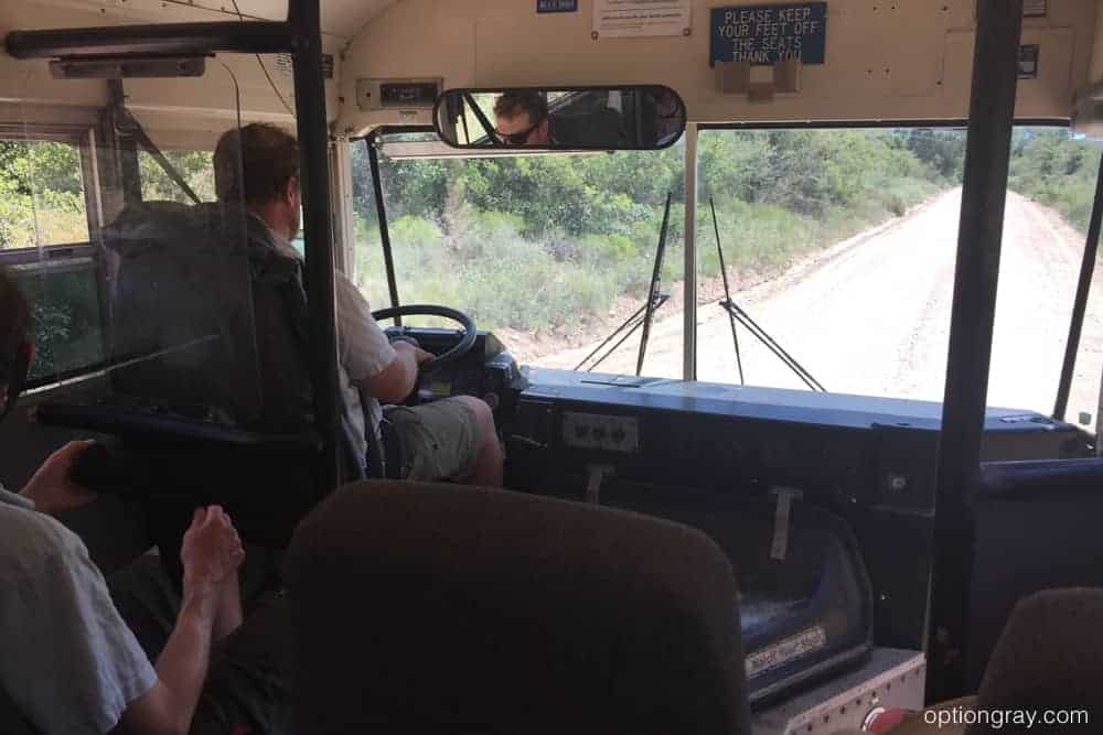 Driving out of Grand Canyon on a bus