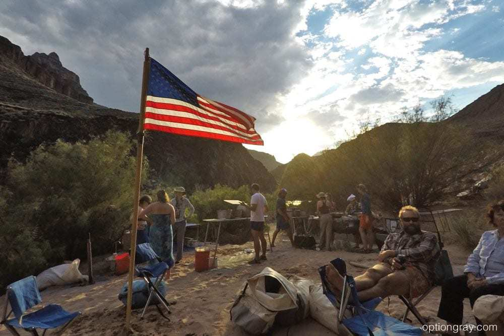 Rest, relaxation, and a little bit of the American spirit in Grand Canyon Mile 109 Camp.