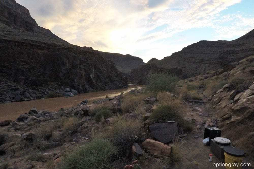 Probably the best view of any restroom I've used. Typical bathroom setup for a Grand Canyon chartered trip.