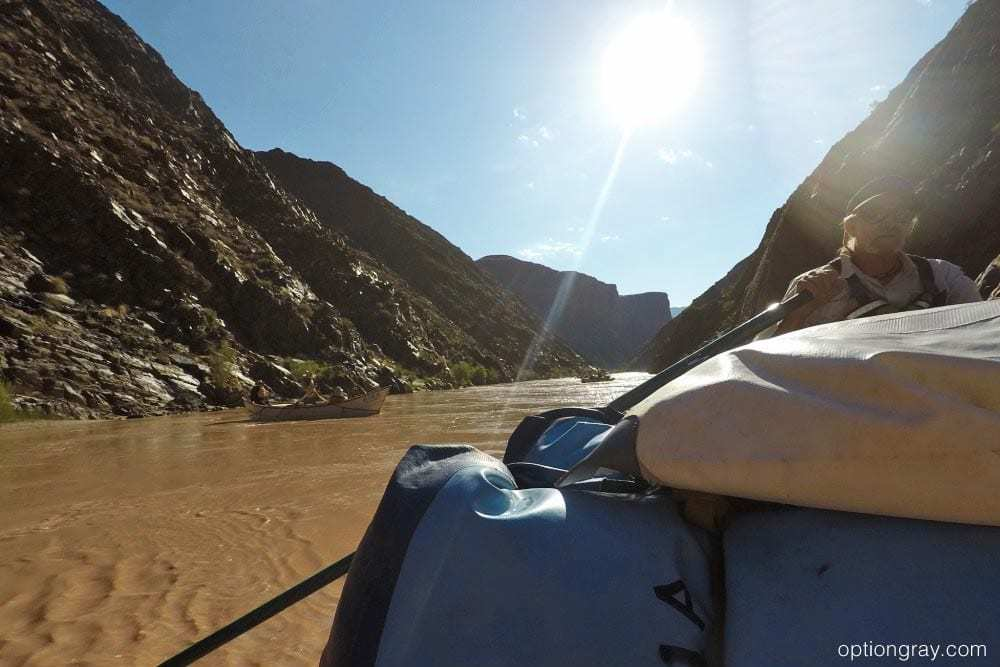 AzRA guide Randy, telling stories on a calm portion of the Colorado River.