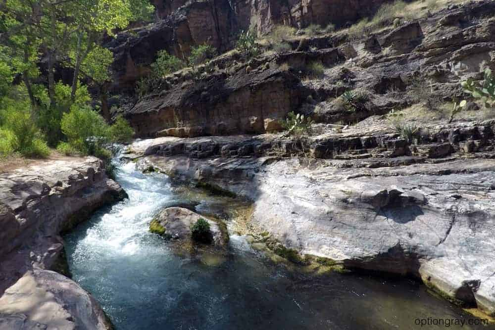 A natural slide allowed us to get in the water and feel the strength of the current, even in this small creek.