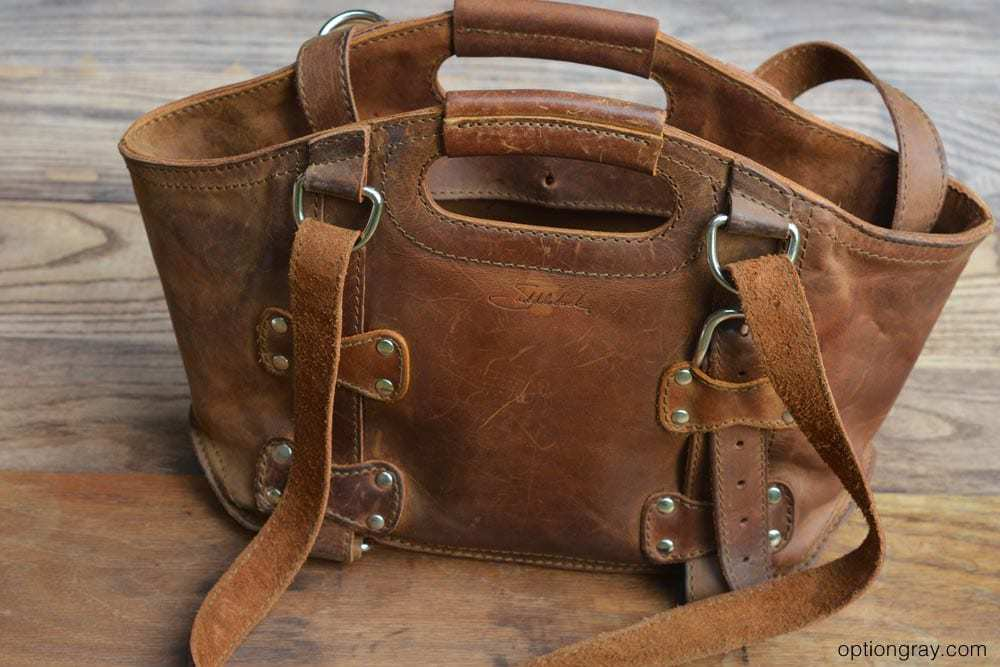 Saddleback Leather tobacco brown purse