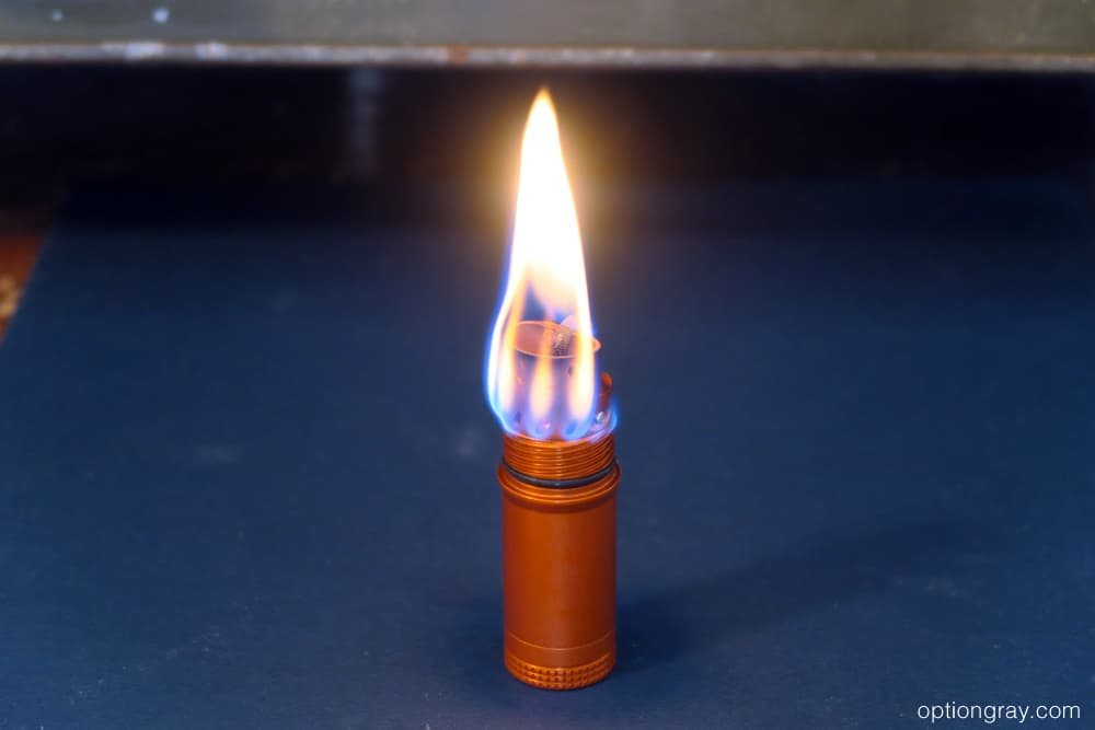 exotac titanlight flame getting smaller as excess fuel burns off