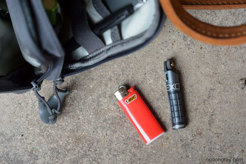 bic lighter and exotac nanospark