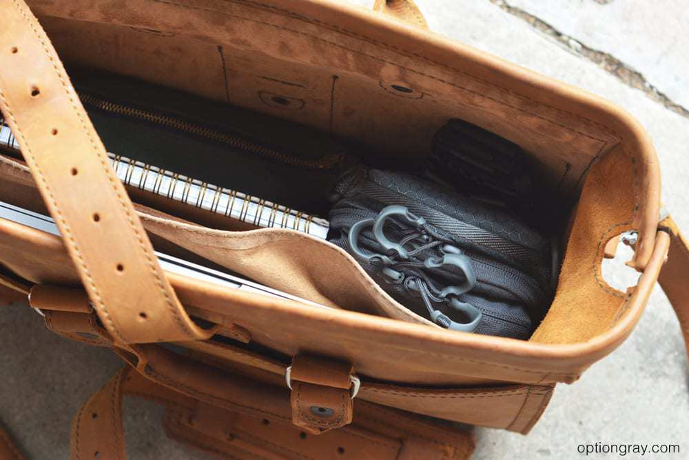 saddleback leather flight bag with edc kit