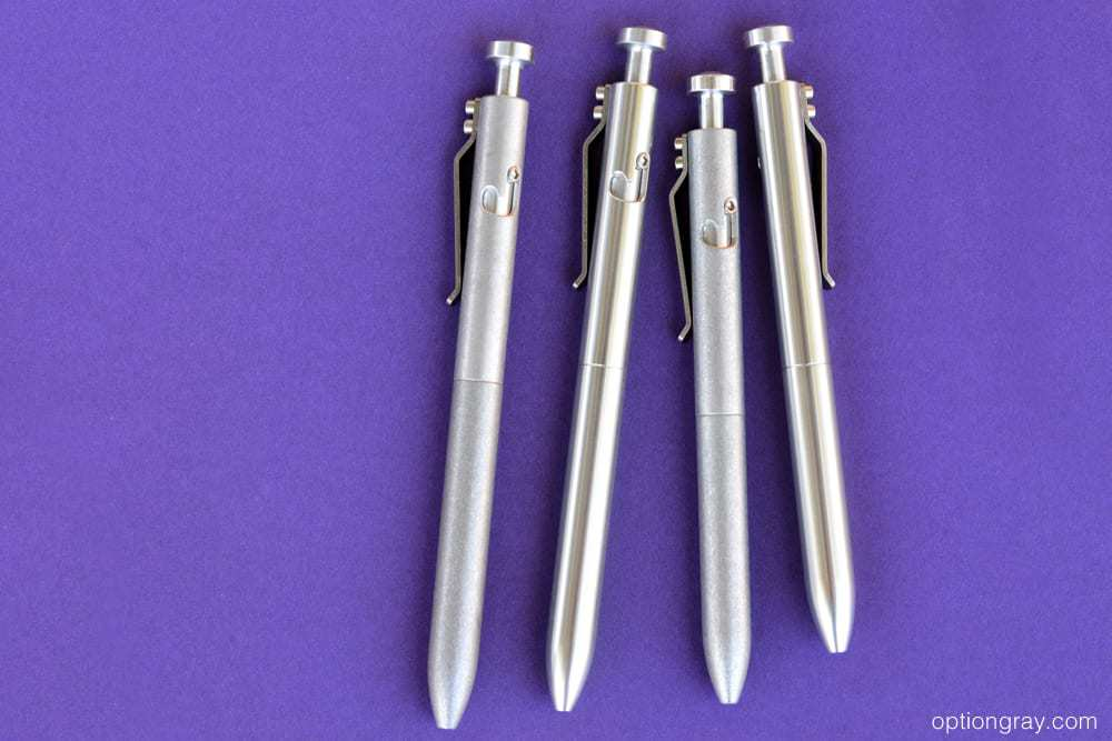 Tumbled Aluminum Bolt Pilot G2, Polished Aluminum Bolt Pilot G2, Tumbled Aluminum Bolt, and the Polished Aluminum Bolt