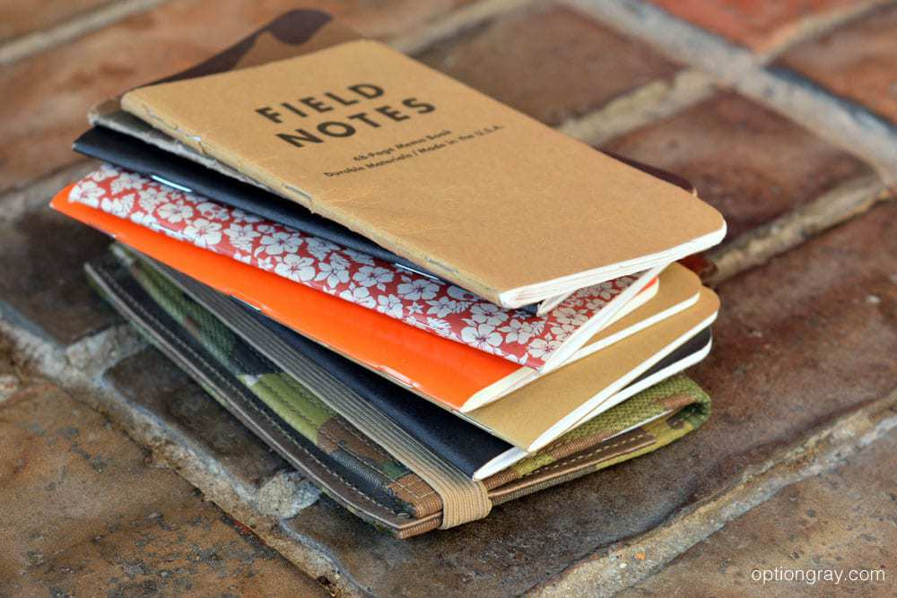 A stack of some of our current and past pocket notebooks.