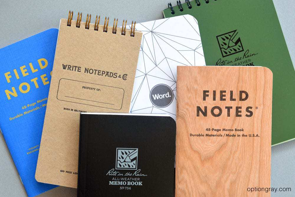 "Shown here is Field Notes County Fair, Write Notepads & Co. Pocket Ledger Notebook, Word. Notebooks Polygon Mix, Rite in the Rain Pocket-Top 4"" x 6"" Spiral in Green, Rite in the Rain's Memo Book in Black and the Field Notes Cherry Graph."