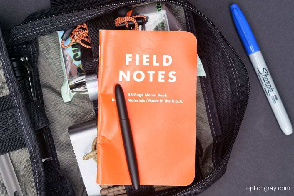 Field Notes Expedition pocket notebook, a Fisher Space Bullet Pen in matte black and a permanent marker.