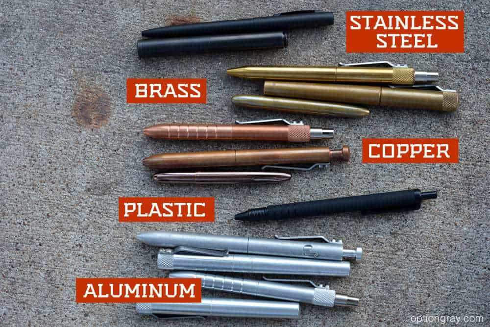 stainless steel pens, brass pens, copper pens, plastic pen, and aluminum pens.