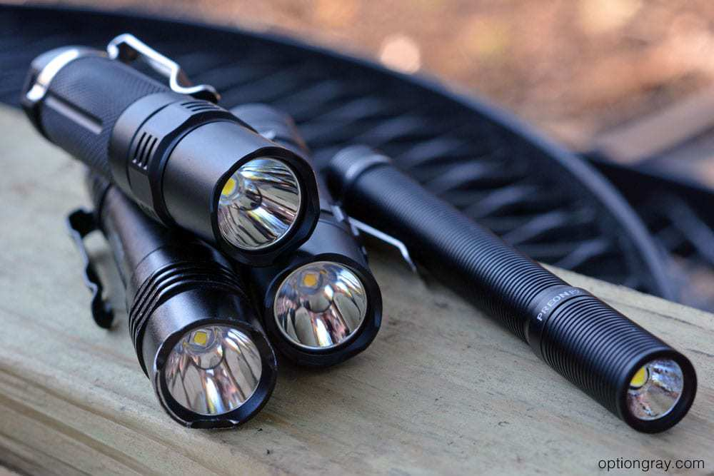 selection of edc flashlights