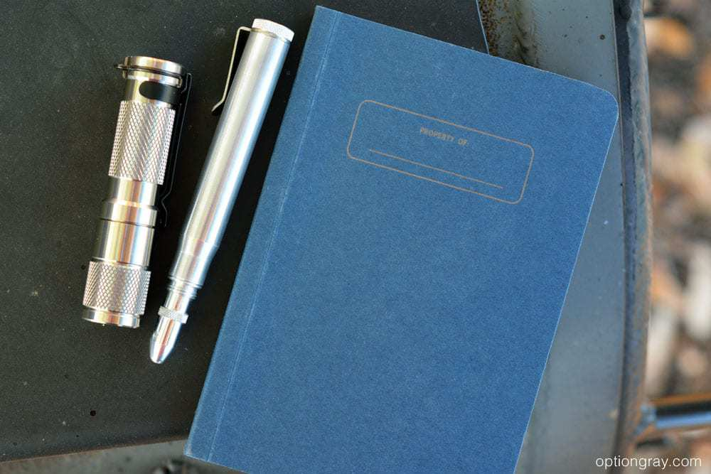 Metal Shop Twist Bullet Pencil in Polished Aluminum, the MARATAC Titanium Nichia AA Flashlight, and the Write Notepads & Co. Pocket Notebook.