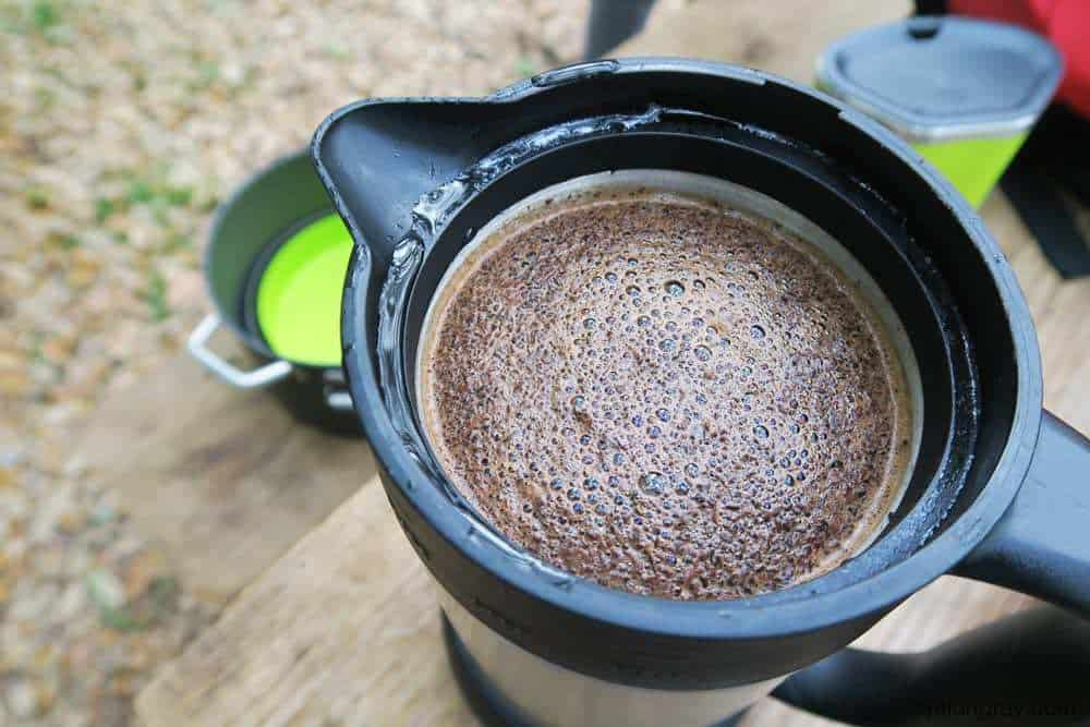 morning coffee at camp in a gsi french press