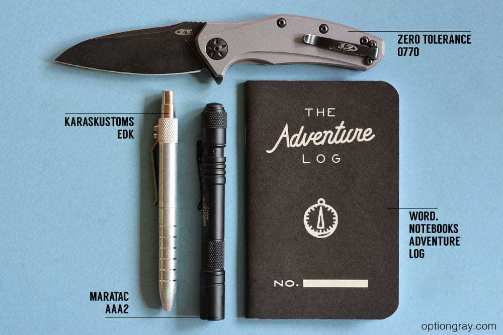 edc kit with american made products including a zero tolerance 0770, karaskustoms edk, maratac aaa2, and word notebooks adventure log.