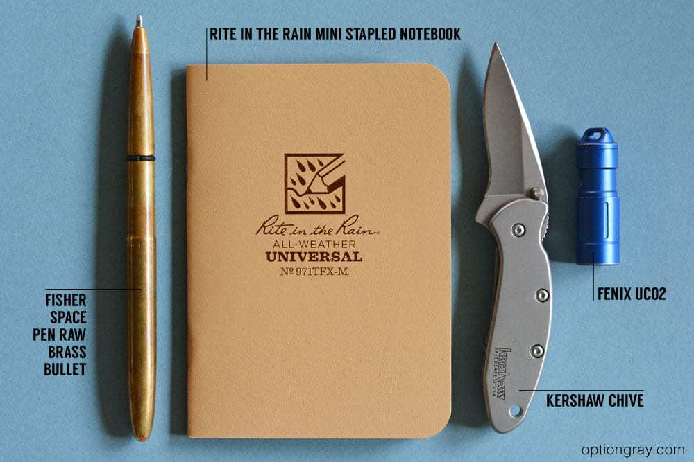 edc kit with Raw brass Fisher Space pen bullet, rite in the rain mini stapled notebook, kershaw chive, and fenix uc02