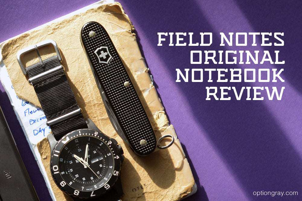 field notes original notebook with tracer H3 watch and victorinox swiss army multitool