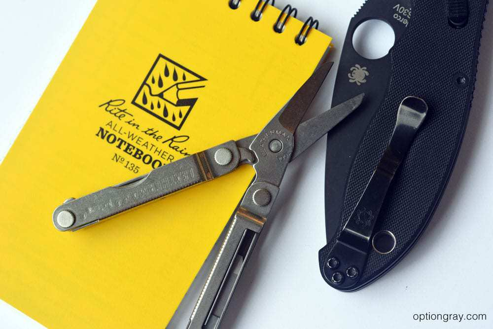 Leatherman Micra, Rite in the Rain all-weather notebook, and Sypderco Manix 2
