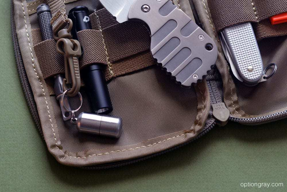 The MARATAC Split Pea shown in a Maxpedition E.D.C. Pocket Organizer