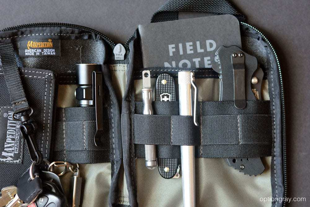 Maxpedition EDC Pocket Organizer filled with EDC gear