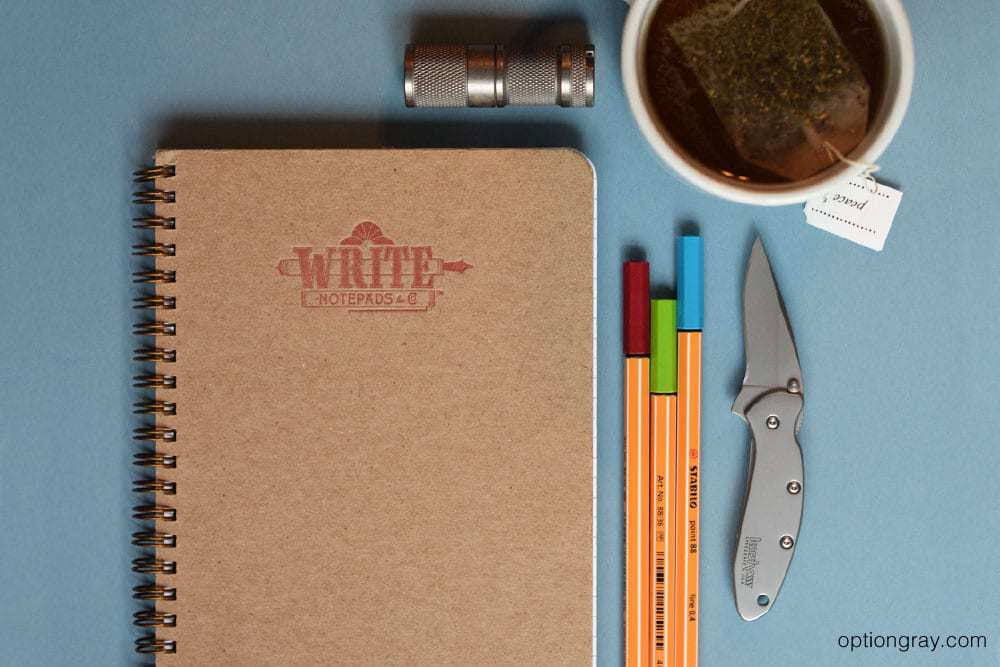 Write Notepads Traditional Ruled Notebook, a Kershaw Chive and a FOURSEVENS Mini ML.