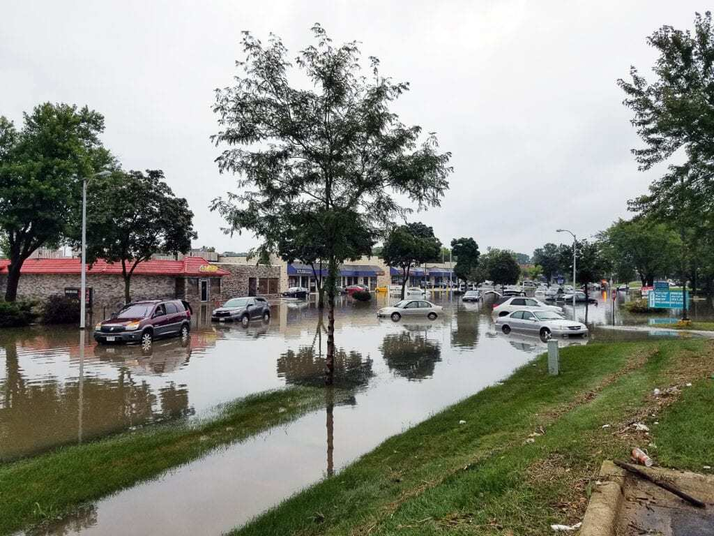 Flooded town
