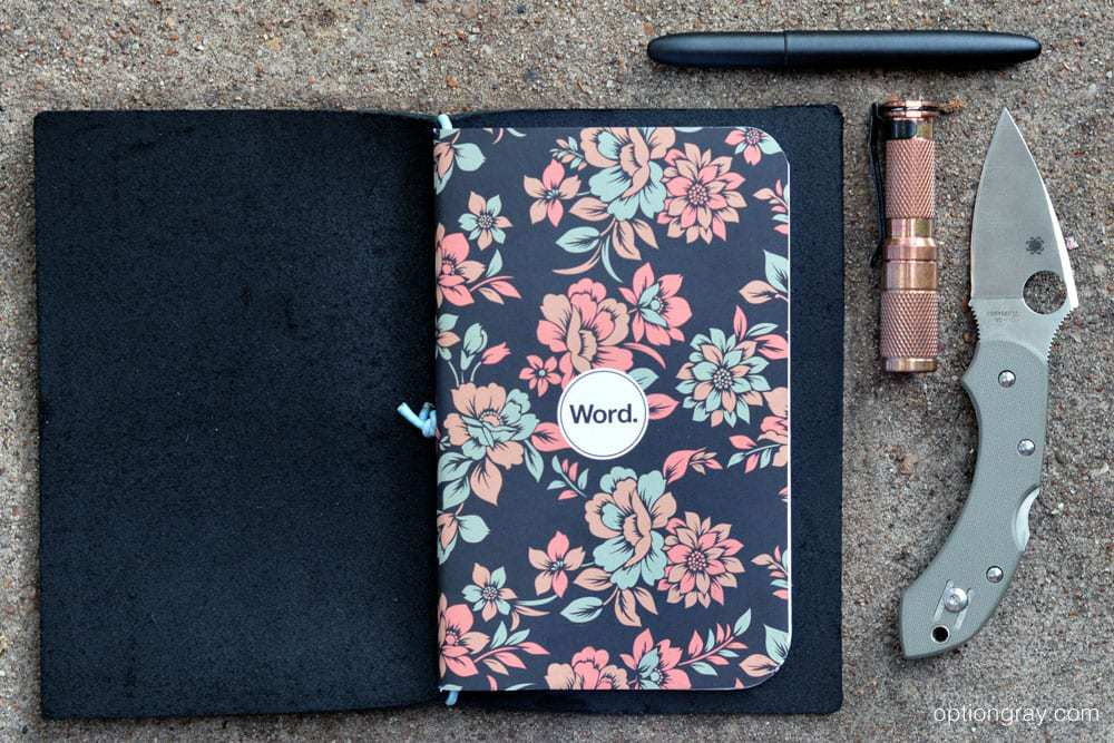 Word. Notebook's Declan Floral Notebook, the Word. Notebooks Leather Jacket in Black/Blue, a MARATAC AAA Copper Flashlight, a Fisher Space Pen Bullet Pen in black and the Spyderco Dragonfly Foliage Green G-10.