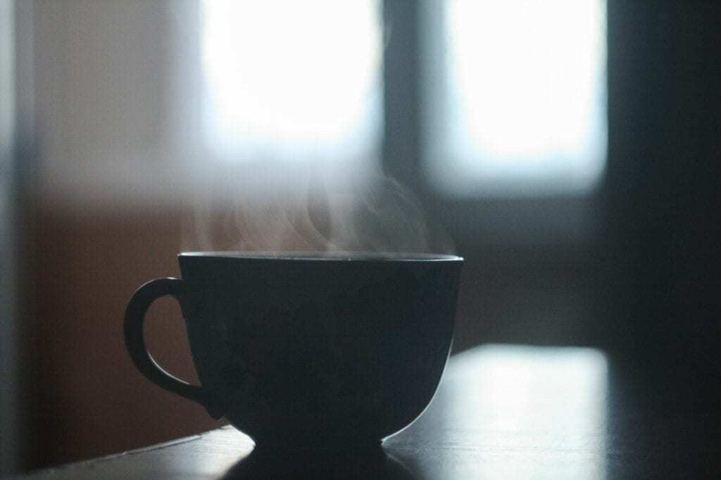 hot steaming coffee
