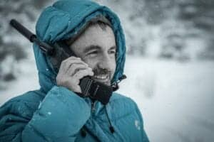 Man with satellite phone