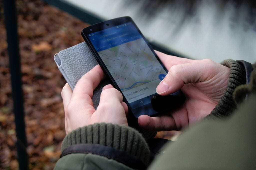 cell phone displaying map