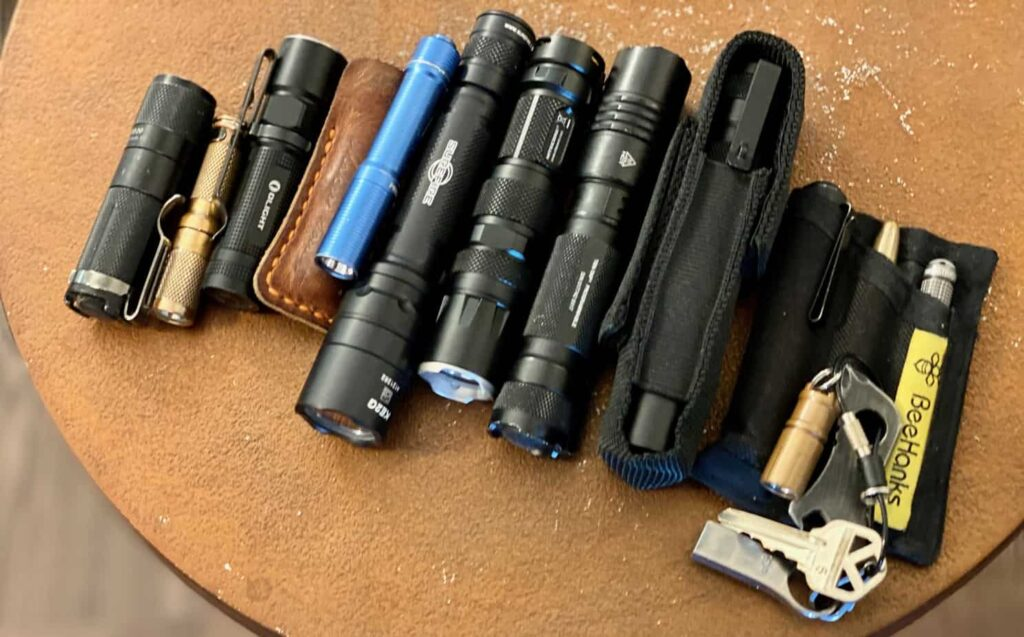 assortment of EDC flashlights