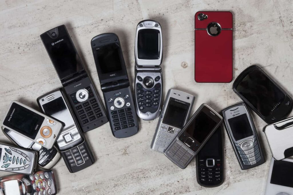A selection of old mobile phones (cell phones)