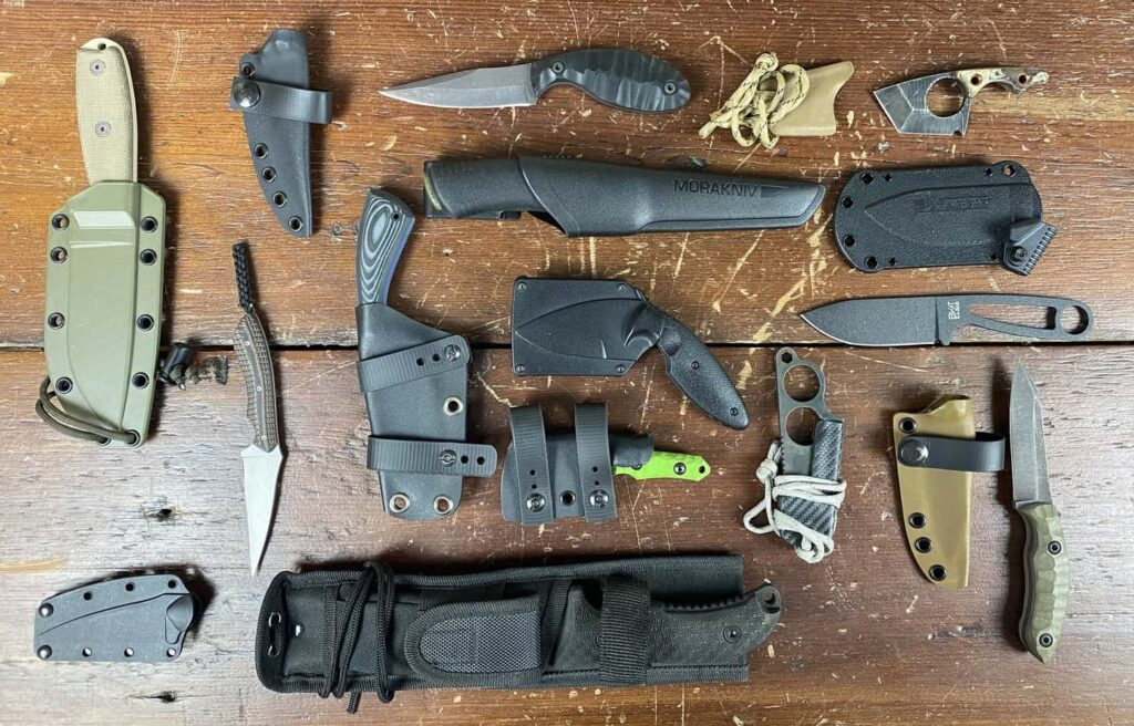 assortment of EDC fixed blade knives